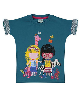 Lilly and Sid Organic Top with friends print