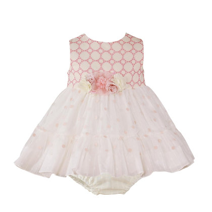 Miranda Baby Girls Ivory and Rose Special Occasion Dress with Knickers