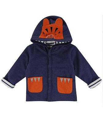 Tiger Baby Boy Navy Blue Stripe Reversible Jacket