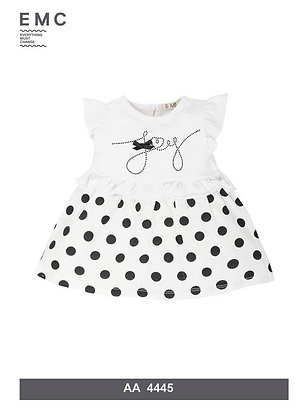 EMC White and Lower Spotted Black Dress