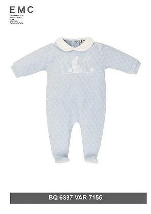 EMC Baby Boy Light Blue Babygrow with Bunnies