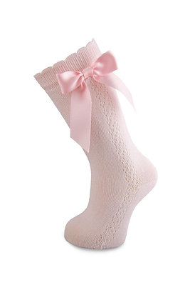 Carlomagno Girls' Red High Socks with Bow