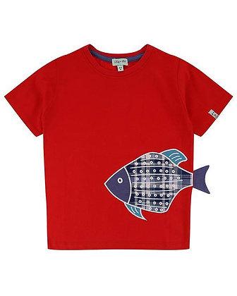 Red Organic Boys T-Shirt 3D Fish
