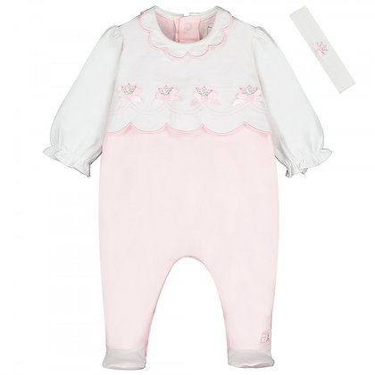 EMILE ET ROSE White and Pink Baby grow with band
