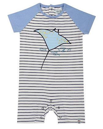Stripe Baby Boy Blue Stingray Organic Romper