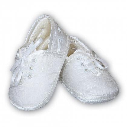 Sarah Louise Baby Boys' White Satin Pram Shoes