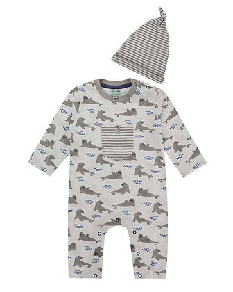 Baby Boys Seal Romper and Hat Babygrow organic grey white