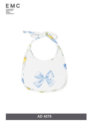 EMC Baby Girl White Bib with Bow and Sunflower Print