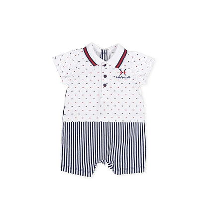 Baby Boys Romper Striped White Navy Blue Red Spotted