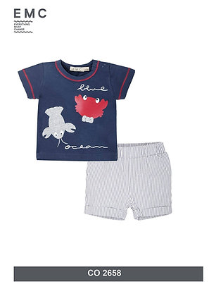 Baby Boys Summer Sets Blue Striped Shorts Crab Print