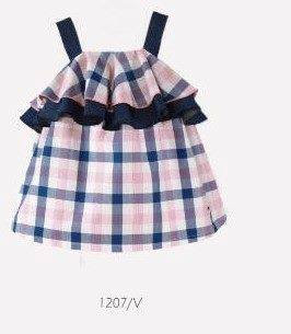 Nel Blu Baby Girl Pink Blue and White Checked Dress