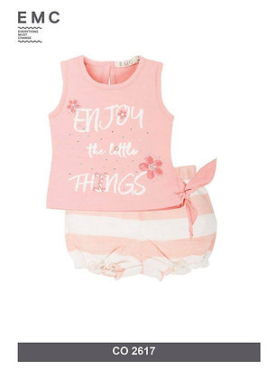 EMC PINK SET WITH STRIPPED SHORTS