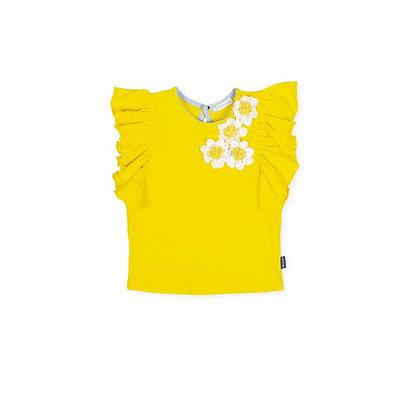 Yellow Set Gingham Flowers Frill Girls