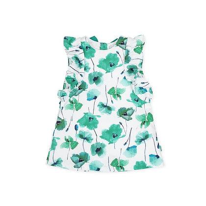 Green Flower Dress Bow Girls