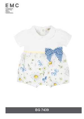 EMC WHITE AND DAISY PRINT ROMPER WITH CHECKED BOW