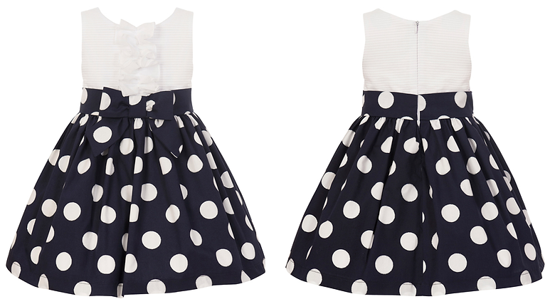 Balloon Chic Girls White and Navy Blue Spotted Dress