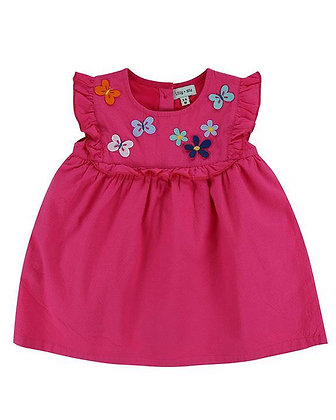 Lilly and Sid Girl Pink Butterfly Dress Organic Cotton