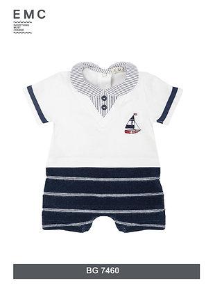 EMC Baby Boys' Romper White Navy Blue