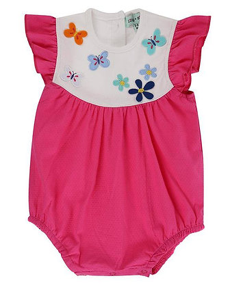 Lilly and Sid Romper Pink with Butterfly girls organic cotton