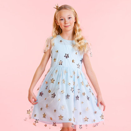 Holly Hastie Aster Blue Sequin Star Girls Party Dress