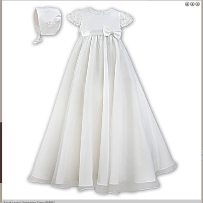 Ivory Christening Gown Flowers Beads Long Traditional Bonnet