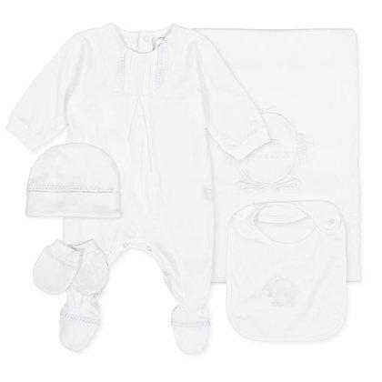 Tutto Piccolo Newborn Gift Set Babygrow Blanket Hat Mittens White