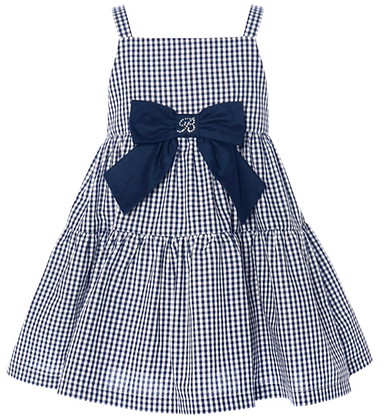Balloon Chic Girls Blue and White Checked Dress