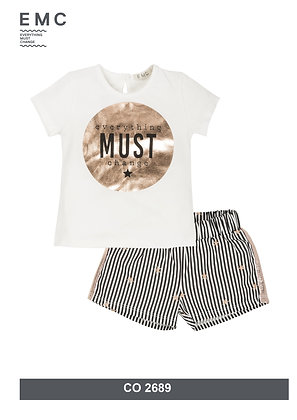 EMC Girls Set My Star Top and Striped Shorts