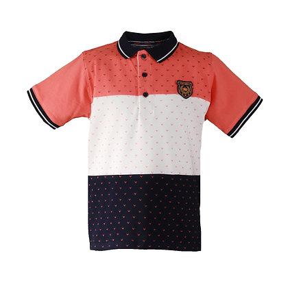 Miranda Boys' Navy Blue and Coral Polo Shirt