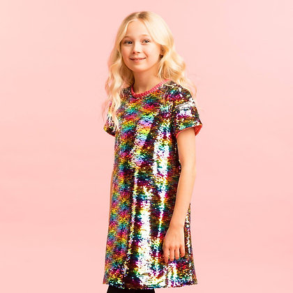 Holly Hastie Girls Party Dress Rainbow Two Way Sequin