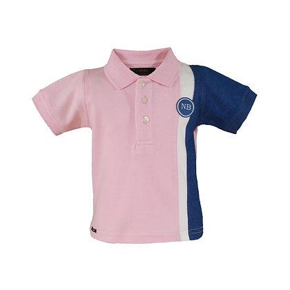 Pink Blue Cotton Poloshirt Boys