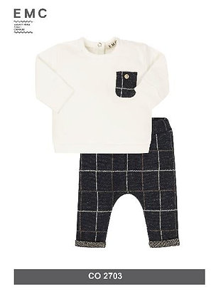 EMC Baby Boys'  White Top and Checked Trousers Tracksuit