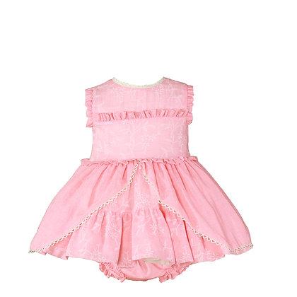 Miranda Coral Baby Dress & Matching Knickers