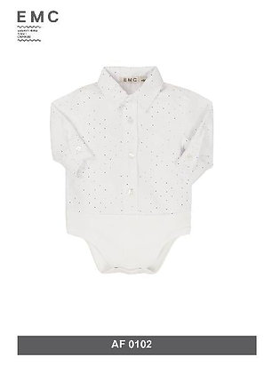 EMC White Shirt with Red and Blue Spots Bodysuit