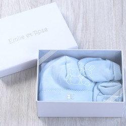 Baby Boy Gift Set Blue Mittens Booties Hat