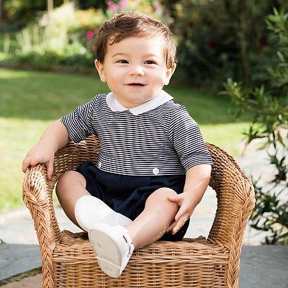 Baby Boy Romper Navy Stripes