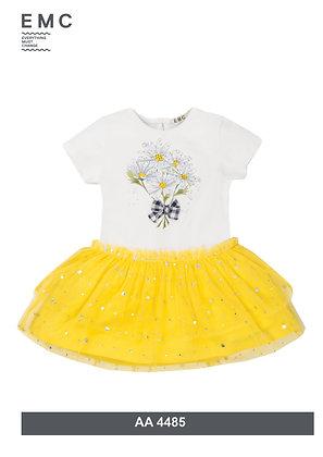 EMC Girls White and Yellow Sunflower Dress