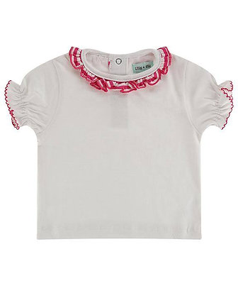 Lilly and Sid White T-shirt with Pink Stripped Frill Organic Cotton