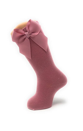 Carlomagno Girls' High Socks with Gros Grain Bow