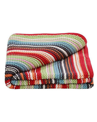Red Coloured  Striped Blanket Knit Unisex Baby