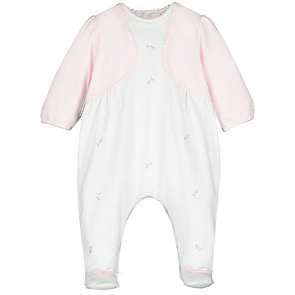 EMILE ET ROSE white baby grow with rosebuds and a pink pale cardigan attached