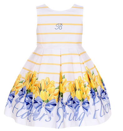 Balloon Chic Girls White Yellow Striped with Flower Print
