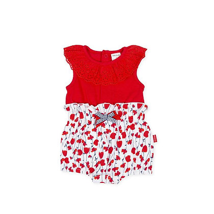 Red Jumpsuit Overall Romper Poppy