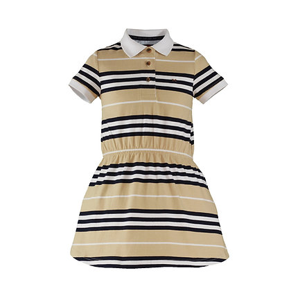Nel Blu Baby Girls Polo Dress Beige Striped Blue and White