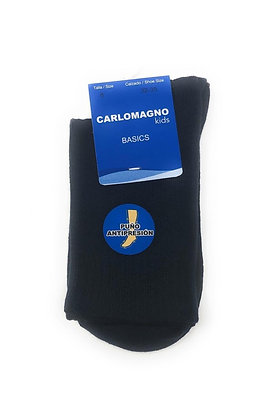 Carlomagno Unisex Navy Blue Cotton Plain Socks