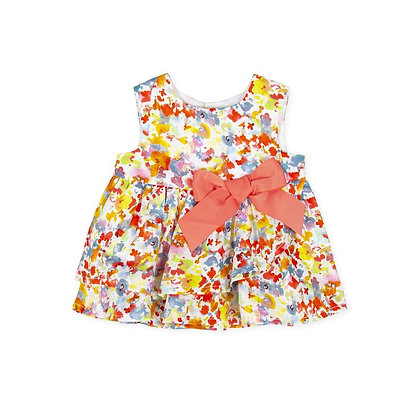 Girls Coral Flowers Bow Colours Colurful Dress