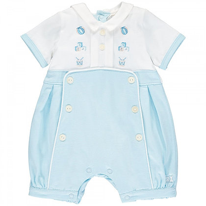 Baby boy blue white romper