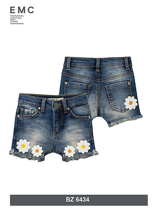 EMC GIRLS DENIM SHORTS WITH EMBROIDERED DAISY APPLICATIONS