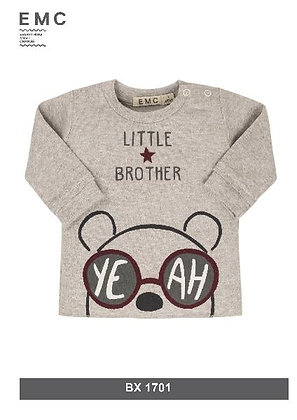 EMC Baby Boy Grey Top ' Little Brother'