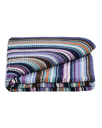 Baby Boys Knitted Coloured Stripes Blanket